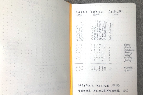 12 week year template dotted notebook completed week