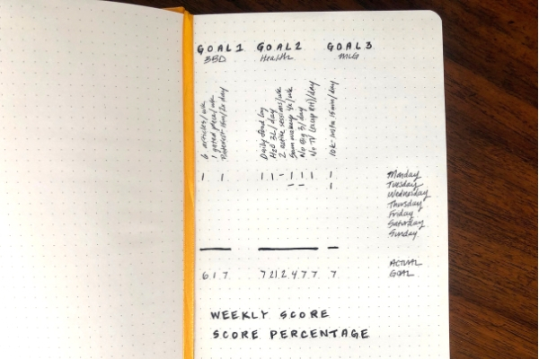 12 week year template dotted notebook partially completed