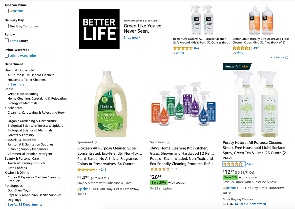 amazon buy natural cleaning products online