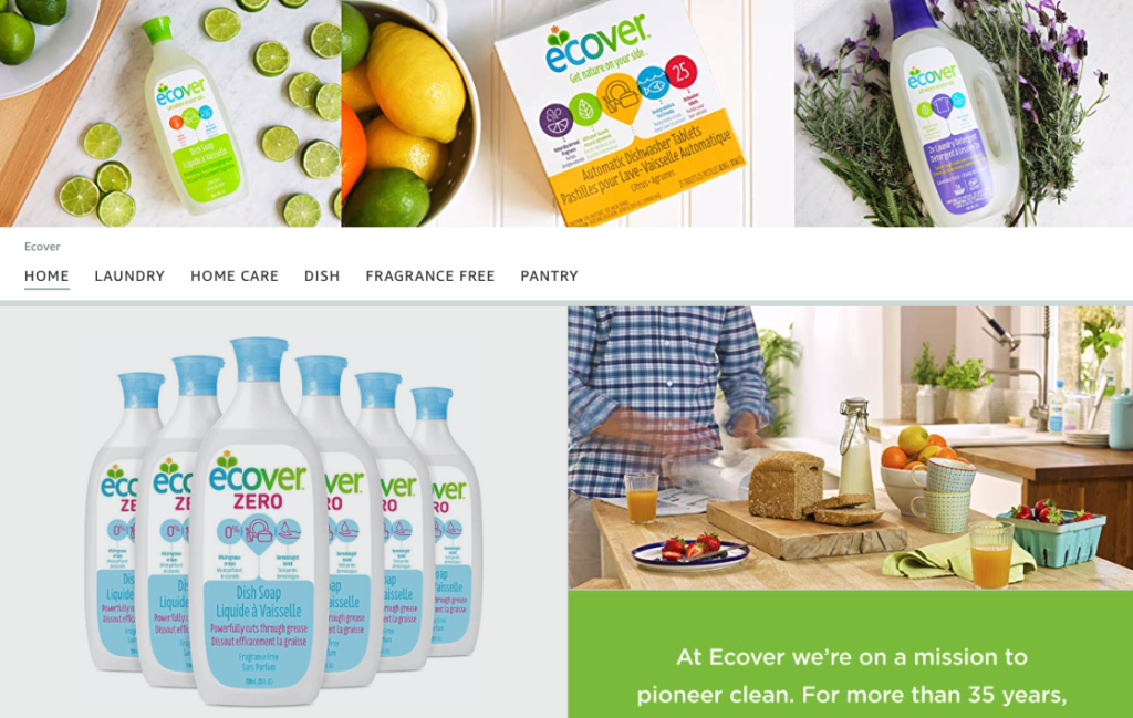 Ecover natural cleaning products brand