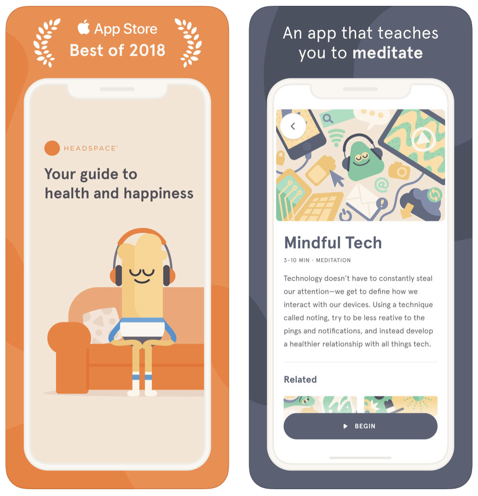 headspace self care app screens