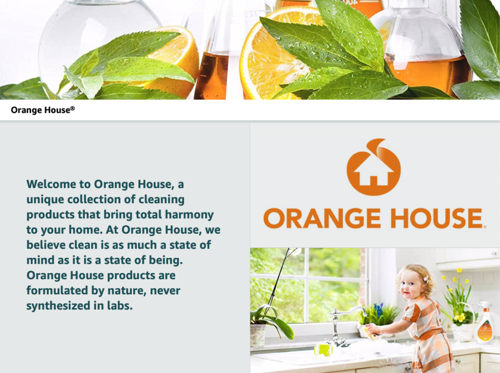 orange house natural cleaning product brand