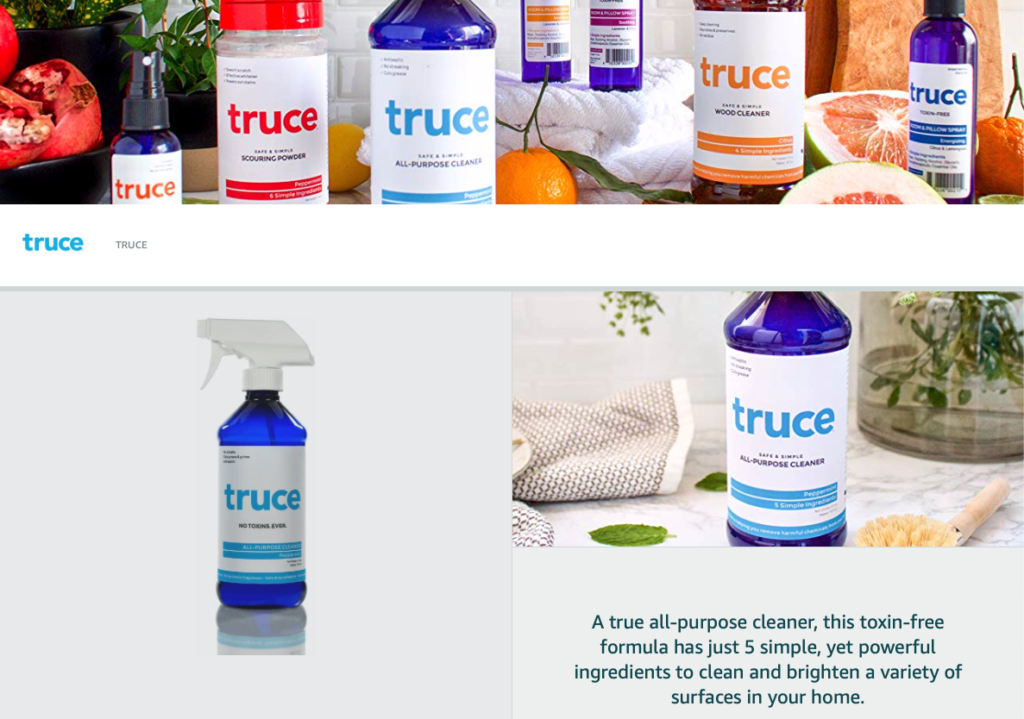 truce natural cleaning products brand