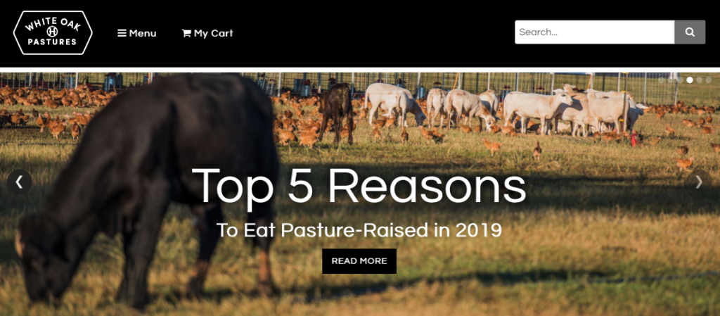 white oak pastures organic meat delivery services